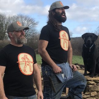 Whittle and flame branded T shirt with labrador model