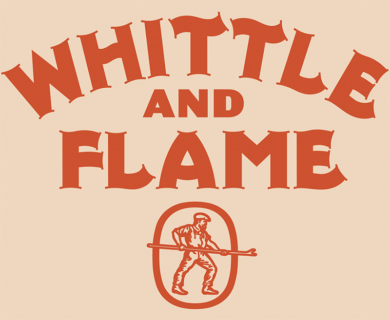 Whittle and Flame masthead logo, featuring a yard worker with a stick.